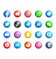 Social media round modern 3d icons set