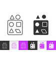 sorter puzzle simple black line toy icon vector image