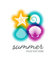 summer card with seashells vector image