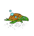 swimming turtle cartoon hand drawn image vector image vector image