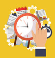time clock hand work office business vector image