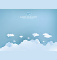 white clouds on pastel blue sky background design vector image vector image