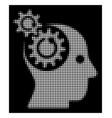 white halftone brain gears rotation icon vector image
