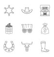 wild west icon set outline style vector image vector image