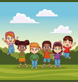 kids jumping in the park vector image