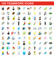 100 teamwork icons set isometric 3d style vector image vector image