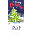 2021 calendar cover funny cartoon christmas vector image vector image