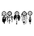 5 dreamcatchers silhouettes with feathers vector image vector image