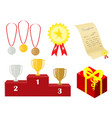 a set of awards for the winner presents and vector image vector image