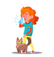 allergic sneezing girl with a cat vector image vector image