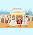 ancient rome flat poster with person man and woman vector image