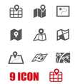 black map icon set vector image vector image