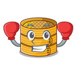 boxing character steamed bamboo for food tool vector image