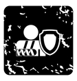 Broken hand and safety shield icon grunge style vector image vector image