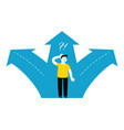 businessman standing at crossroads choice way vector image