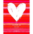 Card with hand drawn heart on striped background vector image vector image