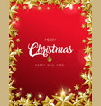 christmas card gold star frame on red background vector image