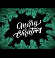 christmas card lettering on black background vector image