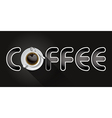 coffee word with cup of black coffee vector image