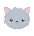 cute gray cat face animal cartoon isolated white vector image vector image