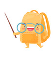cute orange schoolbag holds a pointer vector image vector image