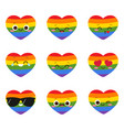 cute smiling lgbt heart character vector image