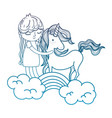 degraded outline beauty unicorn with nice girl in vector image