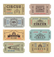 design template of circus tickets vector image