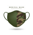 face mask cloth pattern soldier green color design vector image vector image