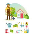 farmers in suburban area materials clothing vector image vector image