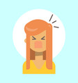 female screaming emotion profile icon woman vector image