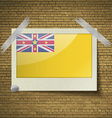 Flags Niueat frame on a brick background vector image