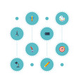 flat icons arrow pencil illuminator and other vector image vector image