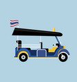 flat tuk tuk in thailand with thai flag vector image