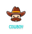 funny cowboy face with hat vector image