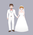 groom holding hand with bridge vector image vector image
