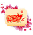 happy chinese new year 2019 zodiac sign with red vector image