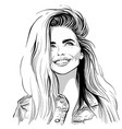happy lovely girl smilin black and white ink style vector image