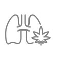 human lungs with marijuana leaf line icon smoking vector image vector image