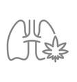 human lungs with marijuana leaf line icon smoking vector image
