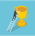 isometric businessman climbs up ladder to the vector image vector image