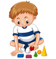 little boy playing shapes vector image vector image
