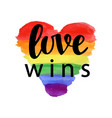love wins pride slogan vector image