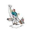 man worker painting wall cartoon vector image