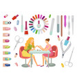 manicure manicurist and tools nails set vector image vector image