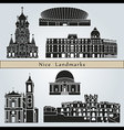 nice landmarks and monuments vector image vector image