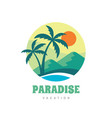 paradise vacation - concept business logo vector image vector image