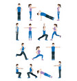 people stretching body vector image