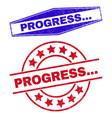 progress grunge seals in circle and hexagonal vector image vector image
