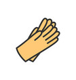 protective rubber gloves flat color line icon vector image